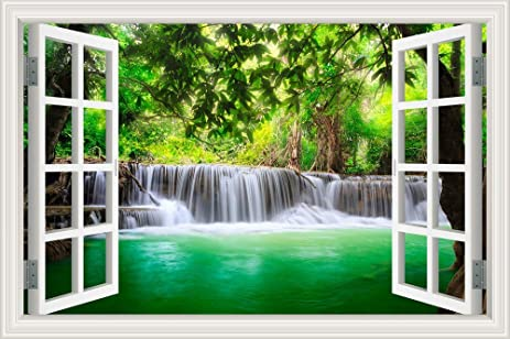 Amazon Com Green Pond Forest Waterfall 3d Window Scenery Wall