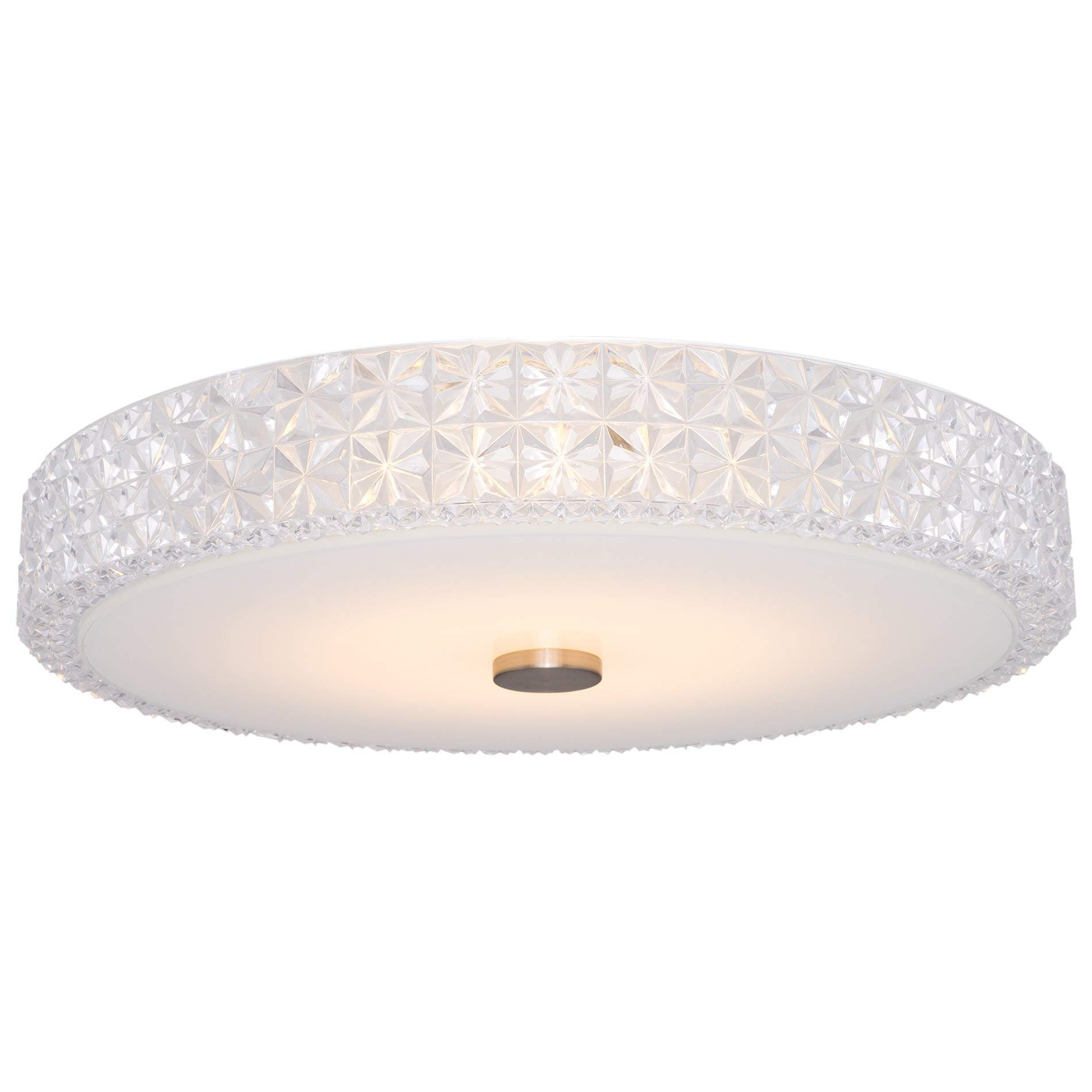 Kira Home Maxine 15'' Modern Flush Mount Ceiling Light, Integrated 20W LED (120W eq.), Clear Crystal Style Shade + Round Glass Diffuser, 3000k Warm White Light, White Finish by Kira Home (Image #1)