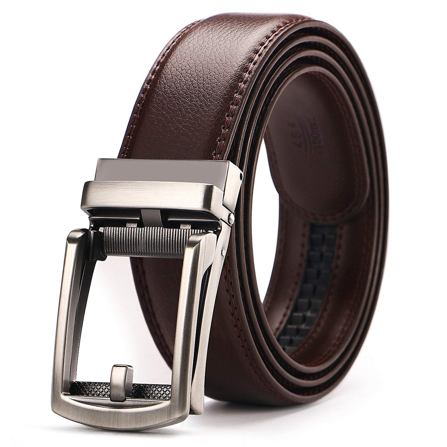 BINMA Men's Belt, Leather Ratchet Belt for Men Dress with Automatic Buckle