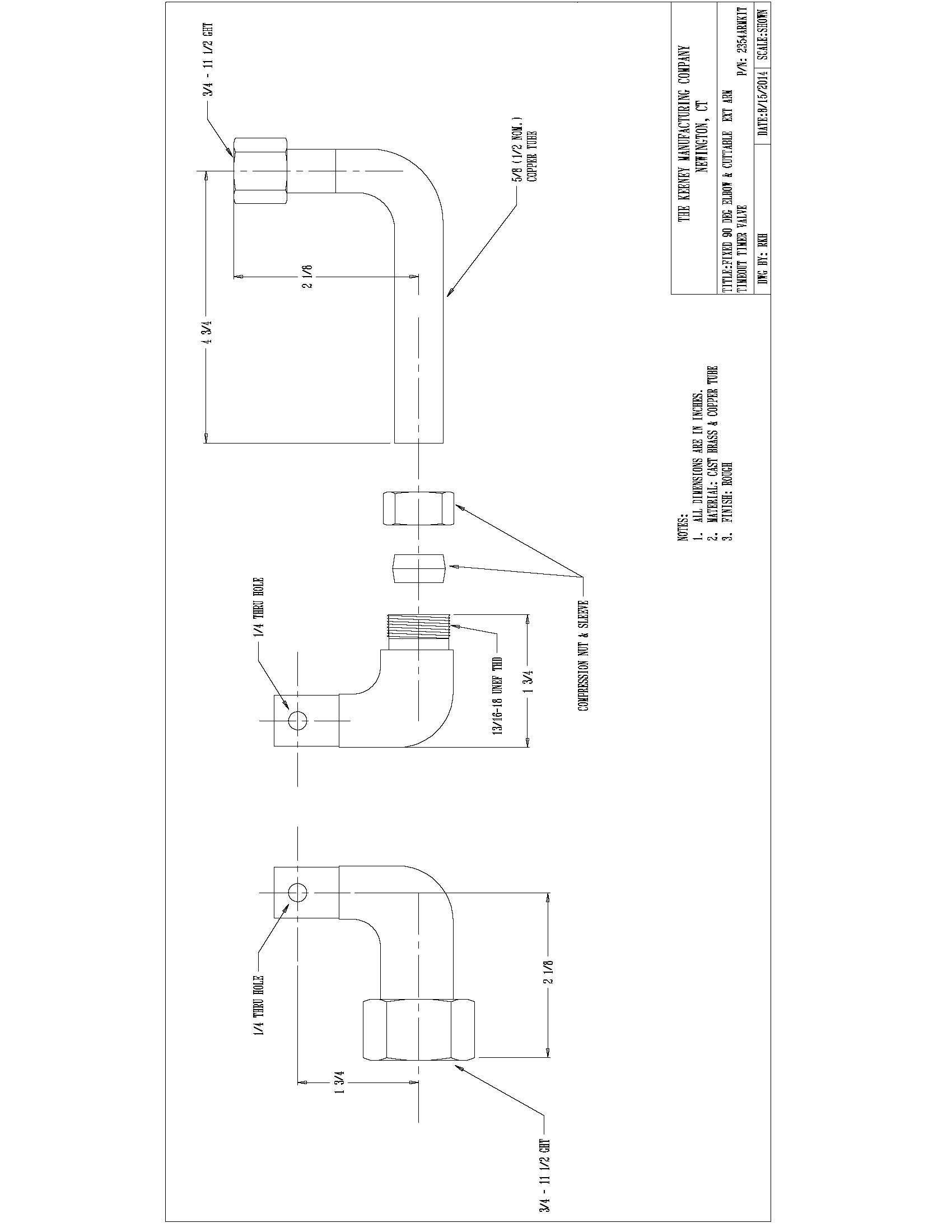 Keeney Manufacturing 2354ARMKIT TimeOut Timer Valve Extension Arm Kit