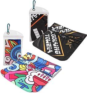 UGREVZ Cooling Towel for Women Yoga Gym Workout Sports Camping Travel Pilates Golf Cooling Towels for Neck 4 Pack Men(CT01Strength+Splendid Life)