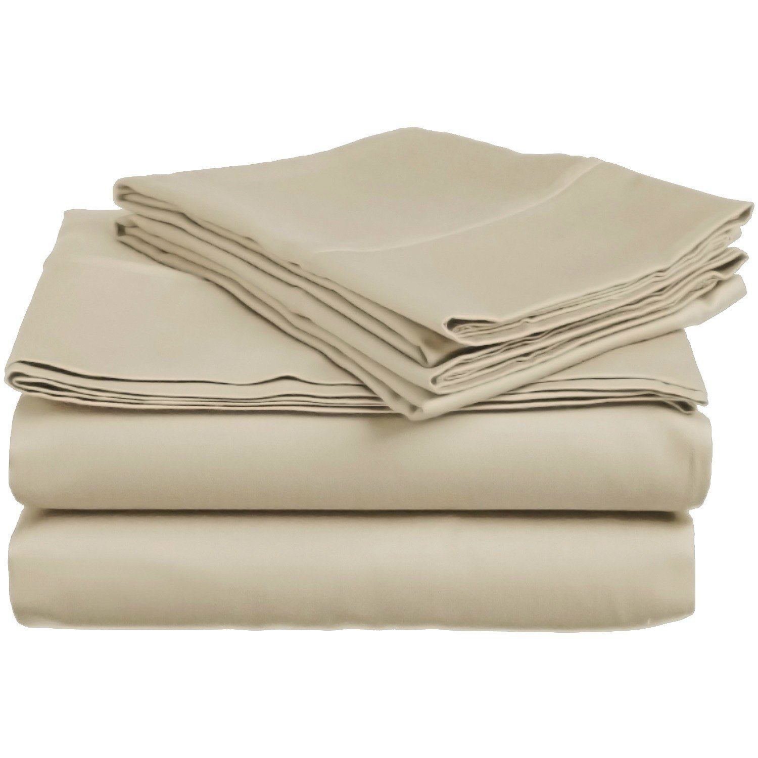 3 Piece Twin Tan Bed Sheet Set, Ultra cozy, super soft, lightweight, durable, satiny smooth, Fully Elasticized, Sateen weave with 300 thread count, Sand, Cotton