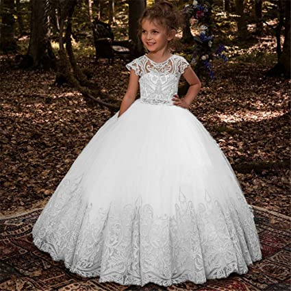 Vestidos de fiesta para niños pequeños Falda de encaje para niña de flores Sin mangas Rendimiento