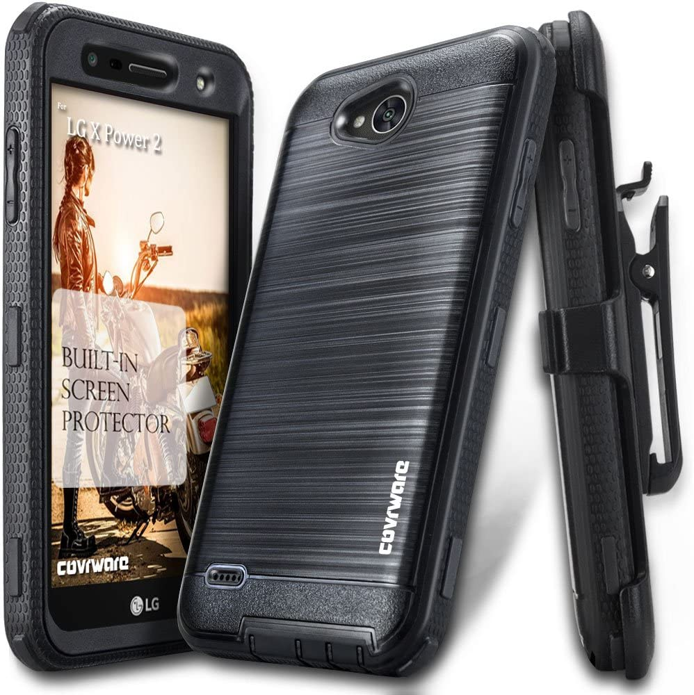 LG X Power 2 / Fiesta 2 / X Charge/Fiesta LTE / K10 Power Case, COVRWARE [Iron Tank] Built-in [Screen Protector] Full-Body Holster Armor [Brushed Metal Texture] Case [Belt Clip][Kickstand], Black