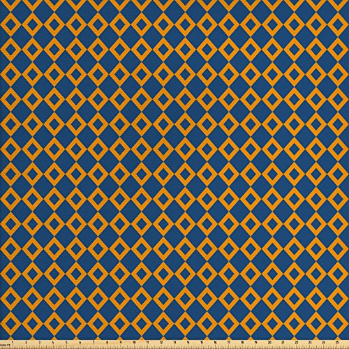 Old Fashioned Fabric (Ambesonne Vintage Fabric by the Yard, Old Fashioned Classical Pattern with Small Squares Chain Mesh Net Simple Tile, Decorative Fabric for Upholstery and Home Accents, Orange Dark Blue)