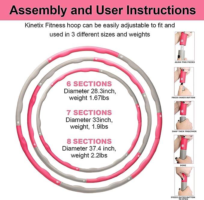 Kinetix Fitness aro de onda de gimnasia con peso 2,2 lbs 2 ...