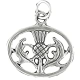 Corinna-Maria 925 Sterling Silver Oval Scottish Thistle Charm