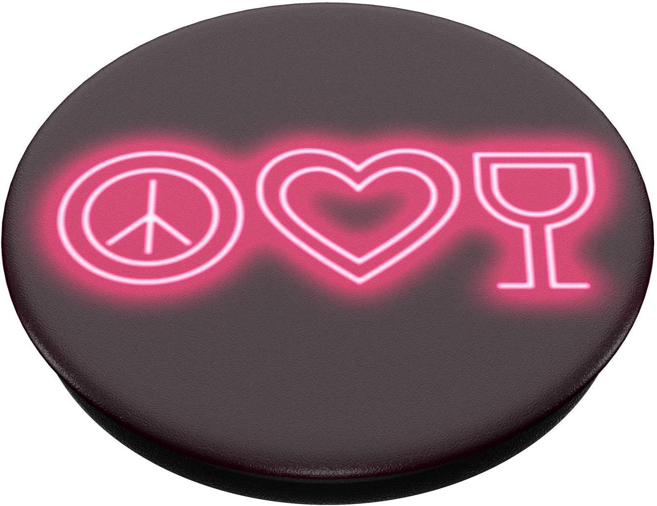 PopSockets PopGrip Support et Grip pour Smartphone et Tablette avec Un Top Interchangeable Peace Love Wine