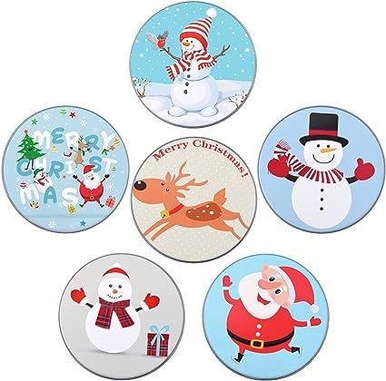 Elcoho - Lote de 6 soportes para tarjetas de regalo de Navidad, 6 estilos, caja de cartón de regalo redonda pequeña: Amazon.es: Oficina y papelería