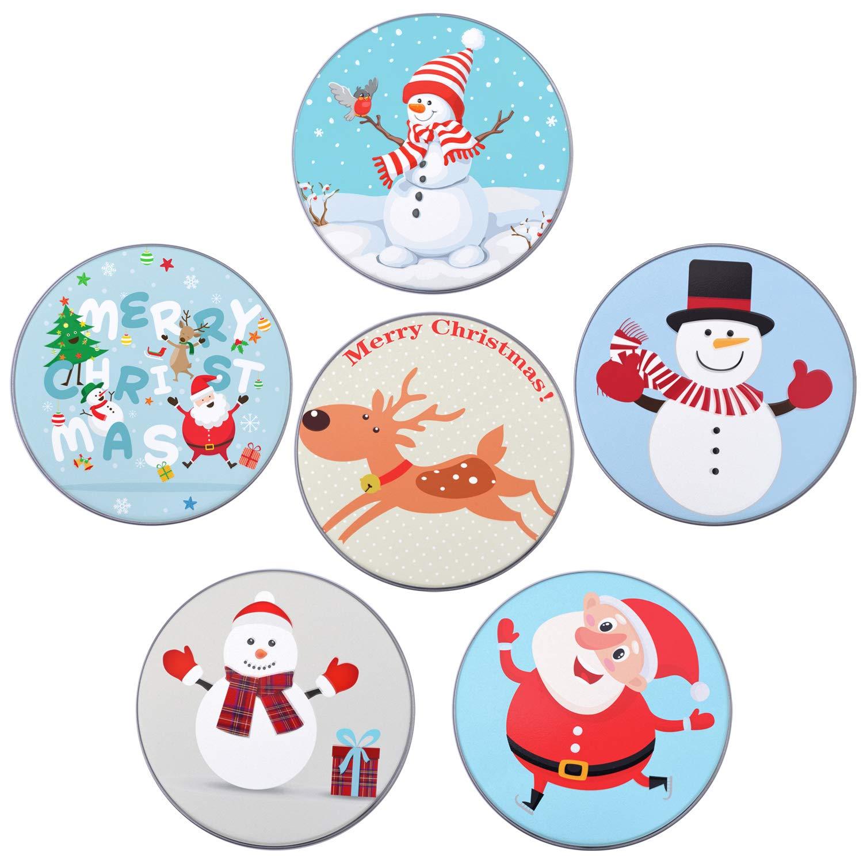 Elcoho 6 confezione regalo di Natale di metallo titolari 6 stili rotondo piccolo regalo di latta porta-box set