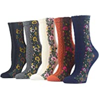Campsis 4 Pairs Nordic Stripe Socks Vintage Flower Cotton Socks Soft Cozy Floral Casual Crew Socks for Women and Girls