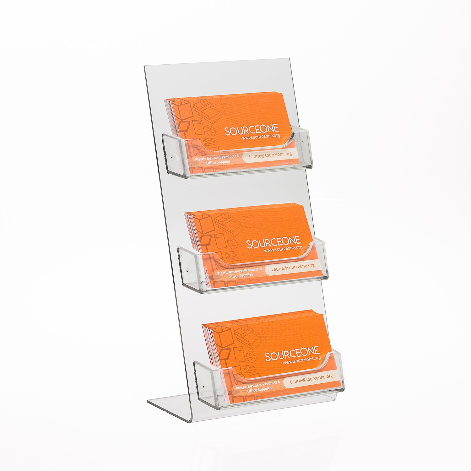 Source One Premium Counter Top Business Card Holder/Gift Card Display (1 Pack, 3 Pocket)