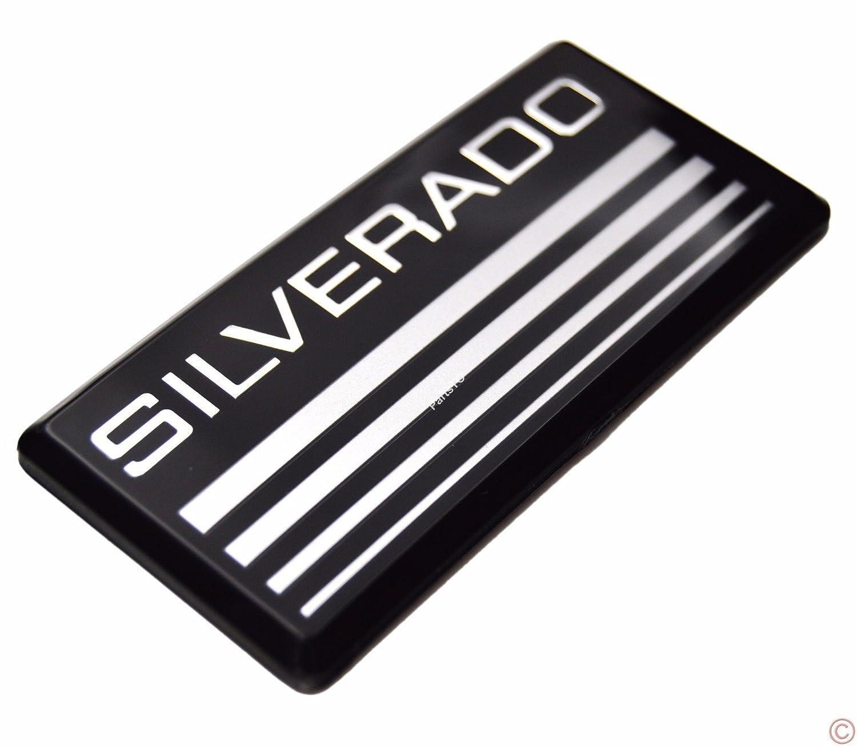 2x PartsTo Silver Cab Emblem Badge Side Roof Pillar Decal Plate for Chevy Silverado 88-98 90 91 Suburban Tahoe C//K Series Blazer