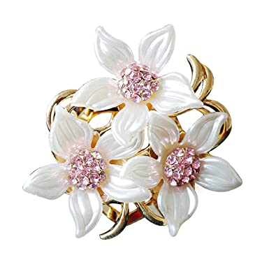Merdia Brooch Pin for Women Flowers Brooch with Created Crystal White 29.8g K115Mxvuw