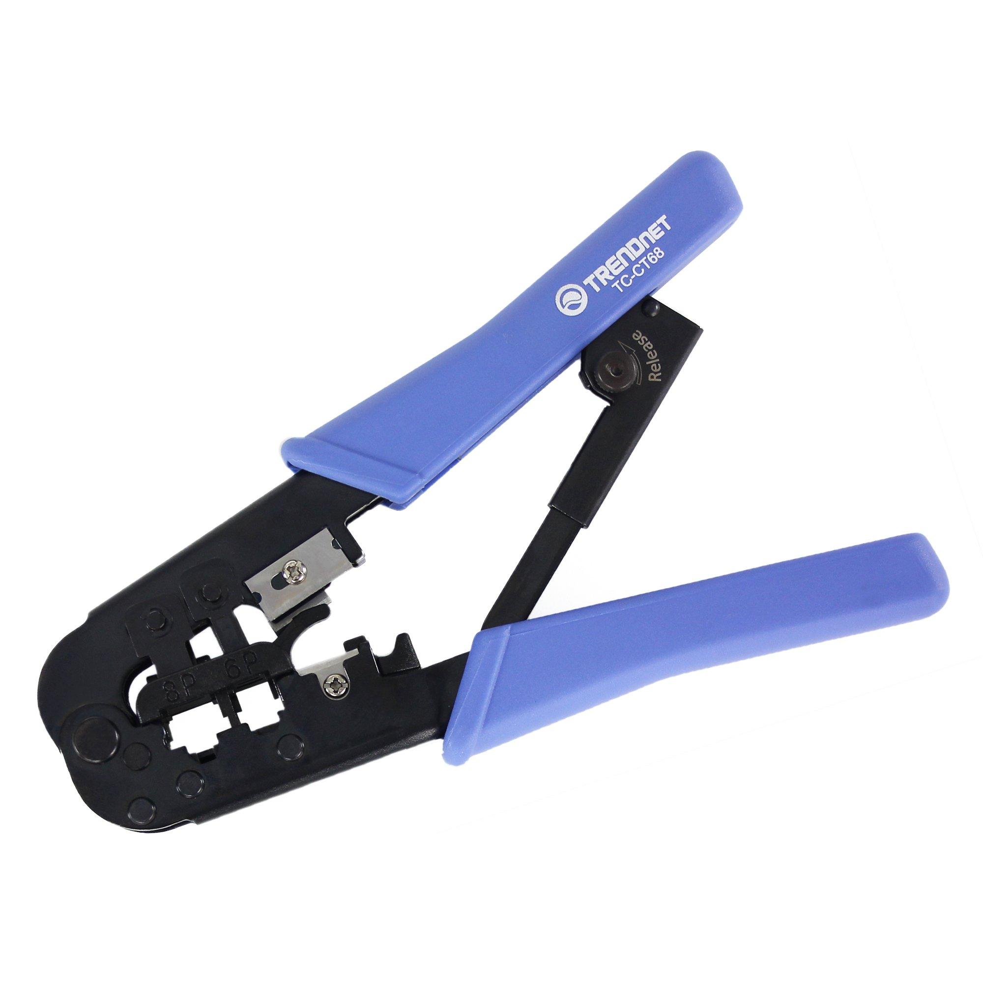 TRENDnet Crimping Tool, 8P/Rj-45 & 6P/Rj-12, Rj-11 Crimp, Cut, & Strip Tool, TC-CT68 by TRENDnet