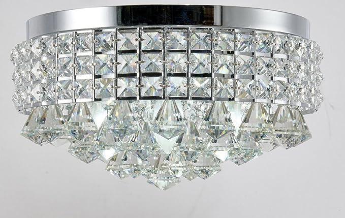 Crystal Flush Mount Chandelier Chrome Finish Ceiling 4 Light Fixture Silver Iron