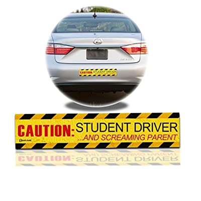 "Zento Deals ""Caution Student Driver and Screaming Parent Car Magnet Funny New Driver Flexible Magnet 12"" X 3"" (1 Pack): Automotive"