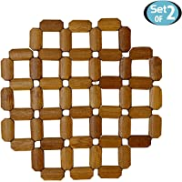 HOKIPO® Bamboo Wooden Set of 4 Table Coaster/Pan Pot Holder