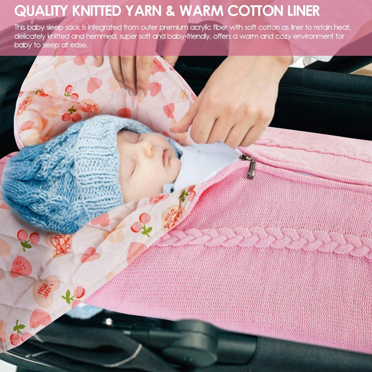 Eurobuy Newborn Baby Swaddle Unisex Baby Knit Stroller Wrap Blanket Toddler Thick Warm Sleeping Bag for 0-12 Month Baby