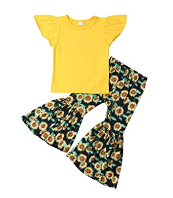 0fd58266dbf4b Amazon.com  Qiylii Toddler Kids Baby Girls Ruffle Sleeve Cotton Tops  Sunflower Printed Bell-Bottom Pants Set Clothes  Clothing