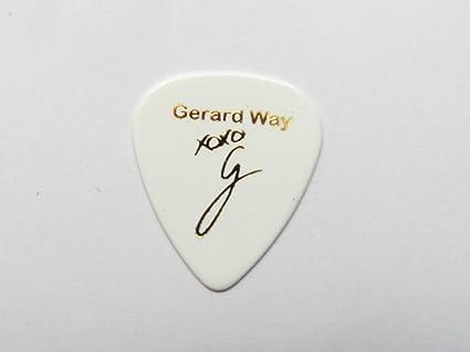 Gerard Way My Chemical Romance MCR Firma estampada púa Guitarra Pick lisa medio (blanco): Amazon.es: Instrumentos musicales