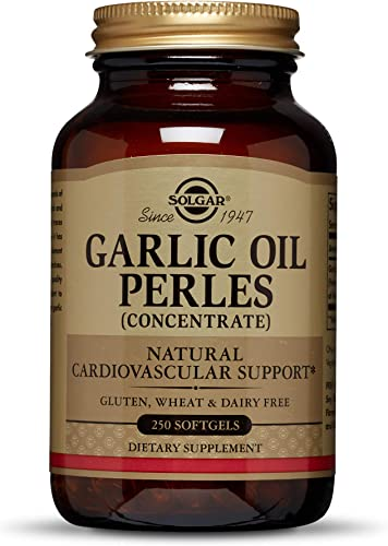 Solgar Garlic Oil Perles, 250 Softgels – Natural Cardiovascular Support – High-Quality Garlic Oil Concentrate, Reduced Odor – Gluten Free, Dairy Free – 250 Servings