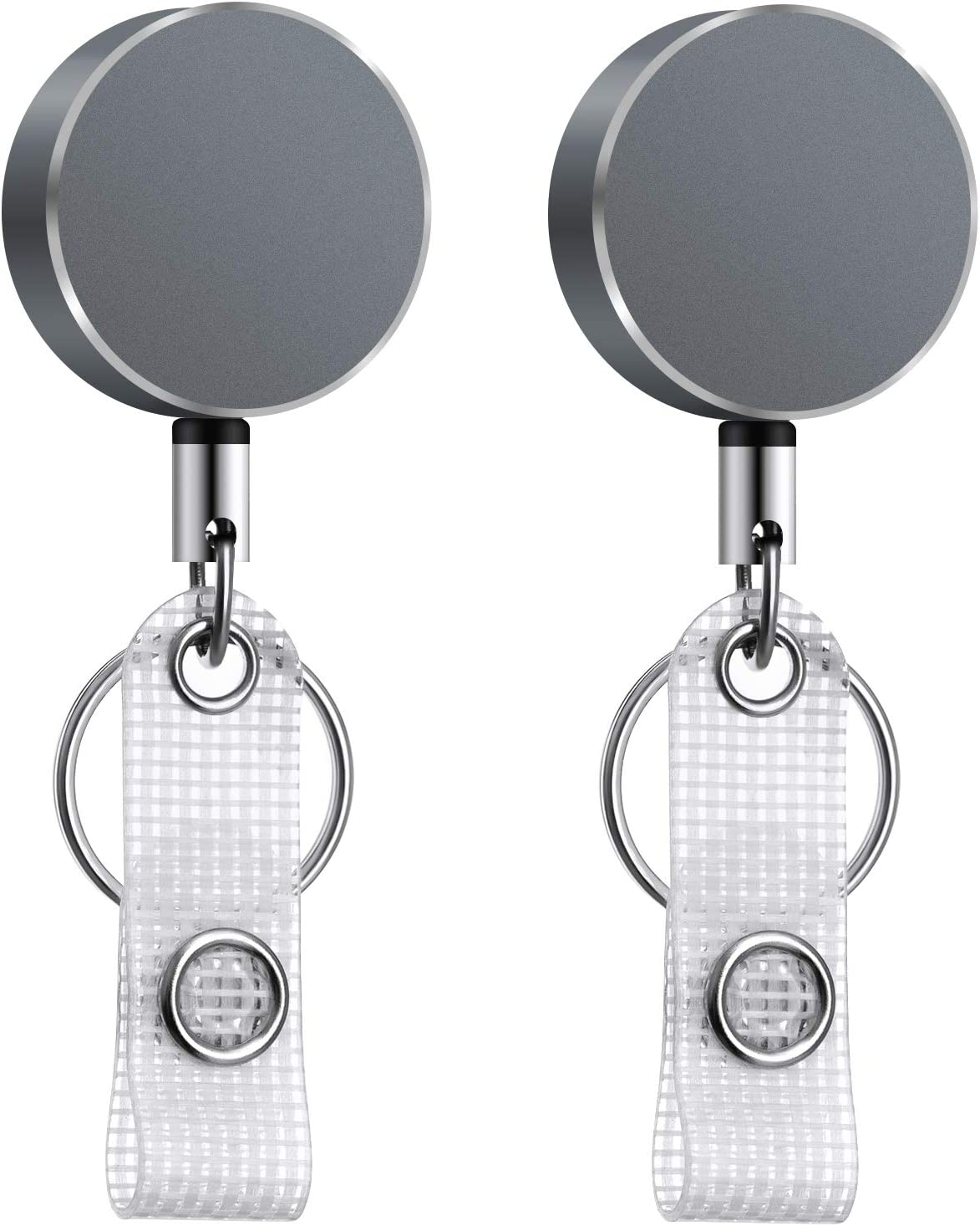 "2 Pack Retractable Badge Holders with Belt Clip Key Ring, All Metal Casing ID Badge Holder with 23"" Adjustable High Strength Wire Cord, Badge Reels with Reel Clip for Office Staff, Nurses and Etc."