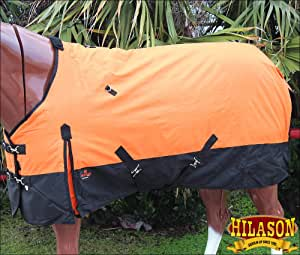 HILASON 600D Winter Waterproof Poly Turnout Horse Blanket Orange Black