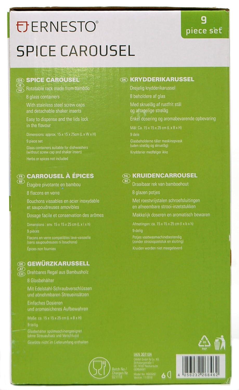 Carrusel Giratorio para Especias 9 Piezas, Hecho de bamb/ú ERNESTO