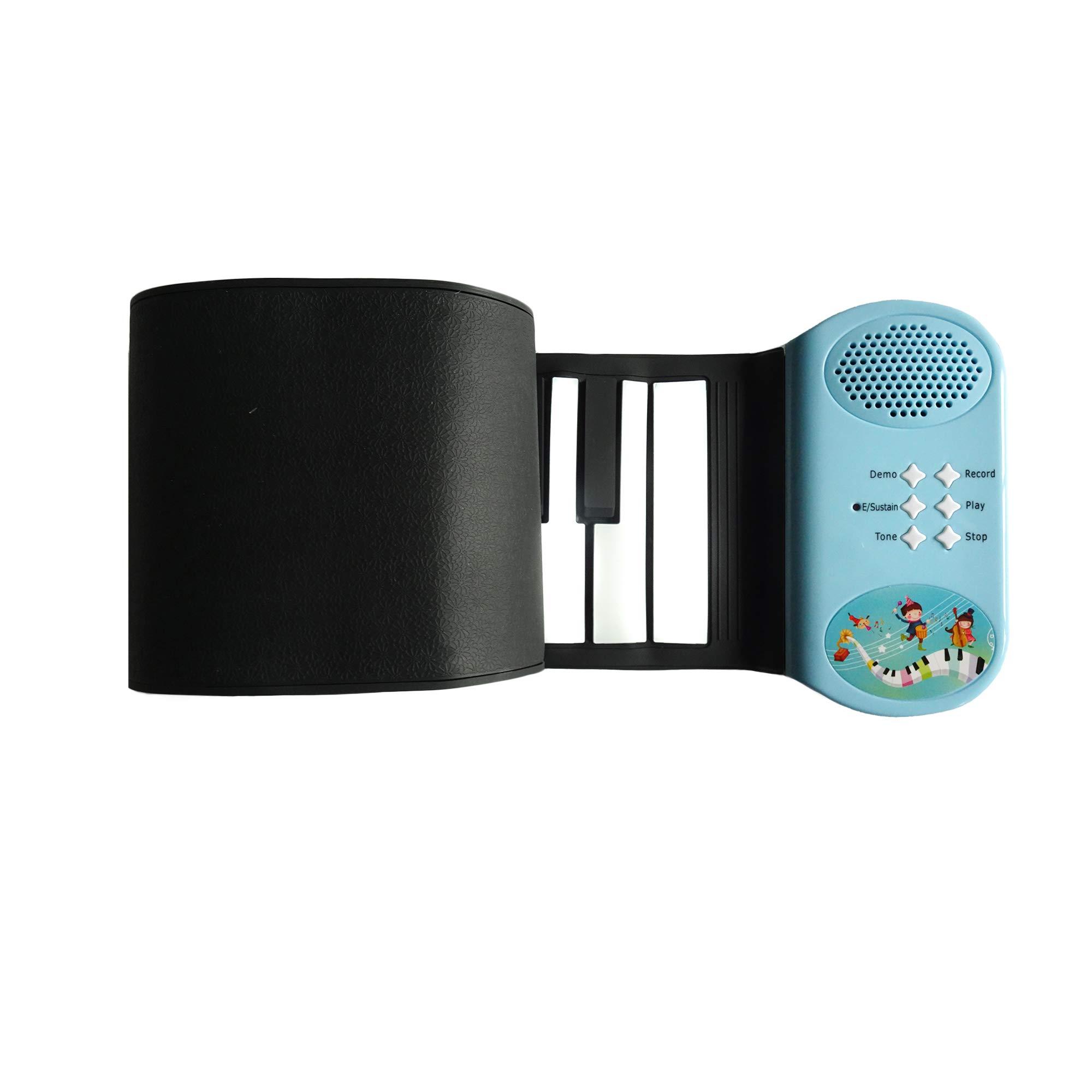 KikerTech 49 Keys - Educational Electronic Digital Roll Up Piano Keyboard w/ Recording Feature, 8 Different tones, 6 Educational Demo Songs & Build-in Speaker (Blue) by Kiker Music