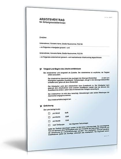 Arbeitsvertrag Zeitungszusteller Word Dokument Amazonde Software