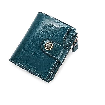 Carteras Mujer Cuero Billetera Pequeña con Cremallera RFID ...