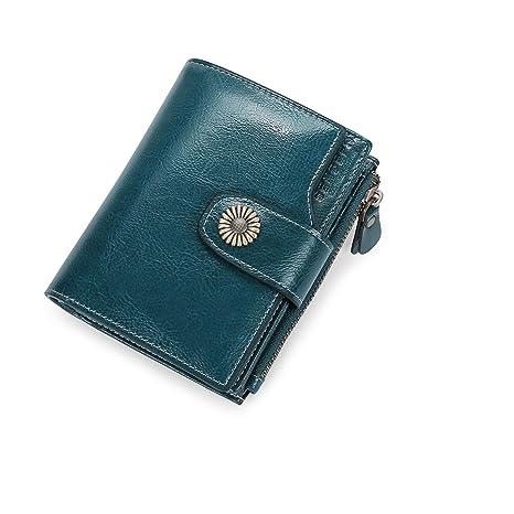 5f329add4 Carteras Mujer Cuero Billetera Pequeña con Cremallera RFID Bloqueo de Cera  Piel Vintage Monederos Mujer con