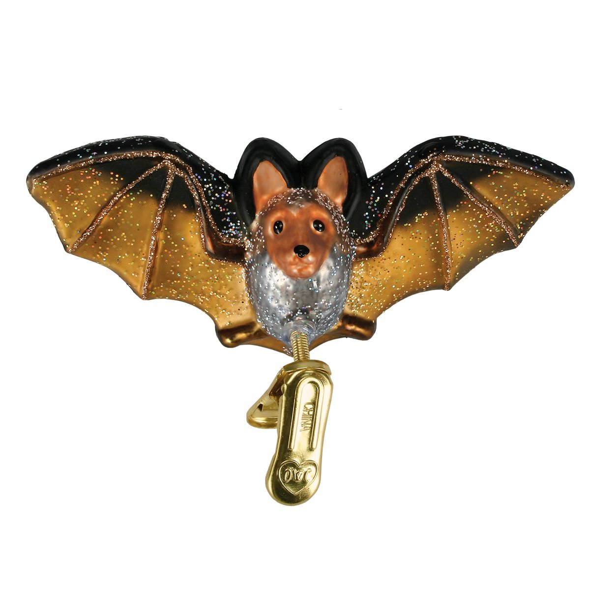 Old World Christmas Glass Blown Ornament with Gift Box, Forest Animals Collection (Clip-on Bat)