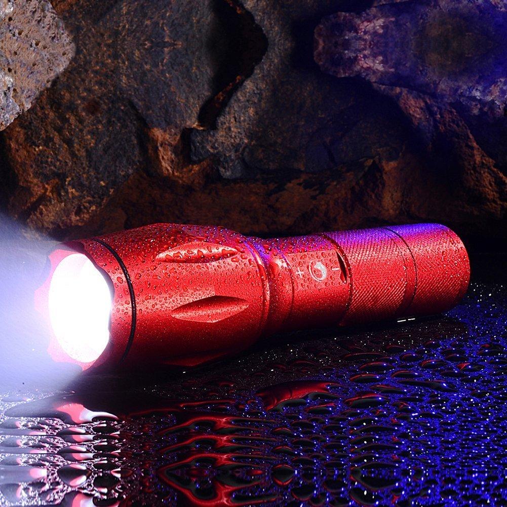 U \'King Taschenlampe Handlampe Rot Wasserdichte Wiederaufladbare Taschenlampe Ultra Bright für Haushalt,Camping,Garage und Outdoor