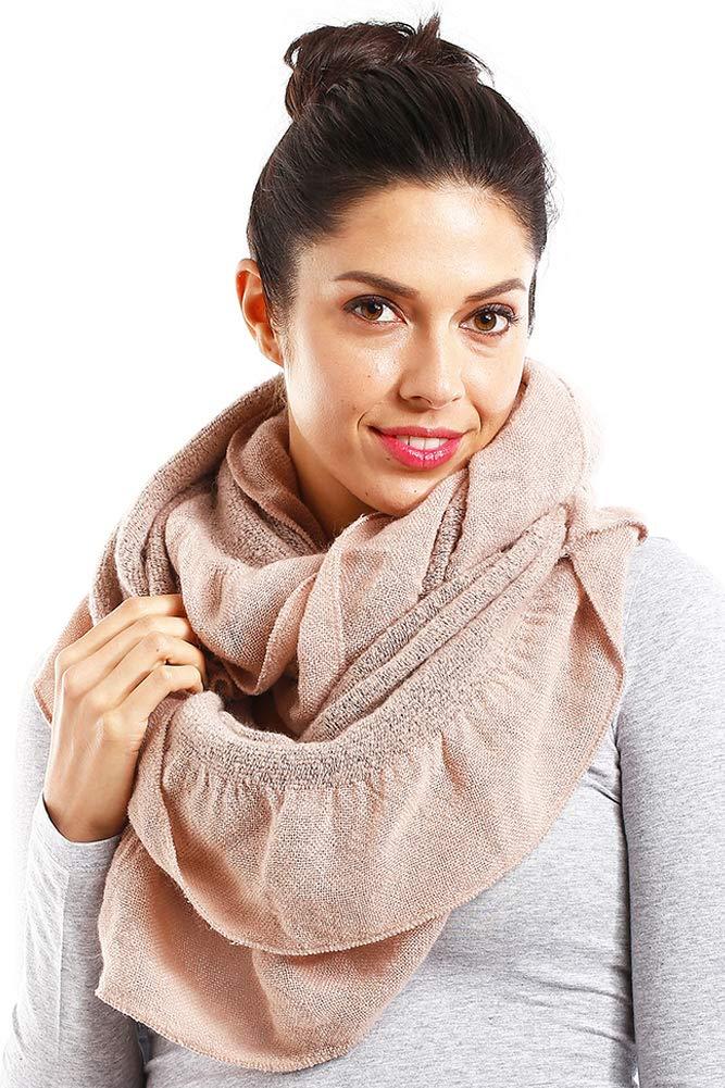 ScarvesMe Women's Winter Warm Solid Ruffled Infinity Scarf
