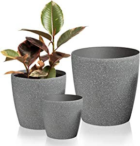 Worth Garden Resin Planter Sandstone Touch Set of 3, Grey Round Flower Pots with Drain Hole Planter for Plants Indoor Outdoor Garden Patio Deck Elegant Light & Unbreakable,Large & Medium & Small