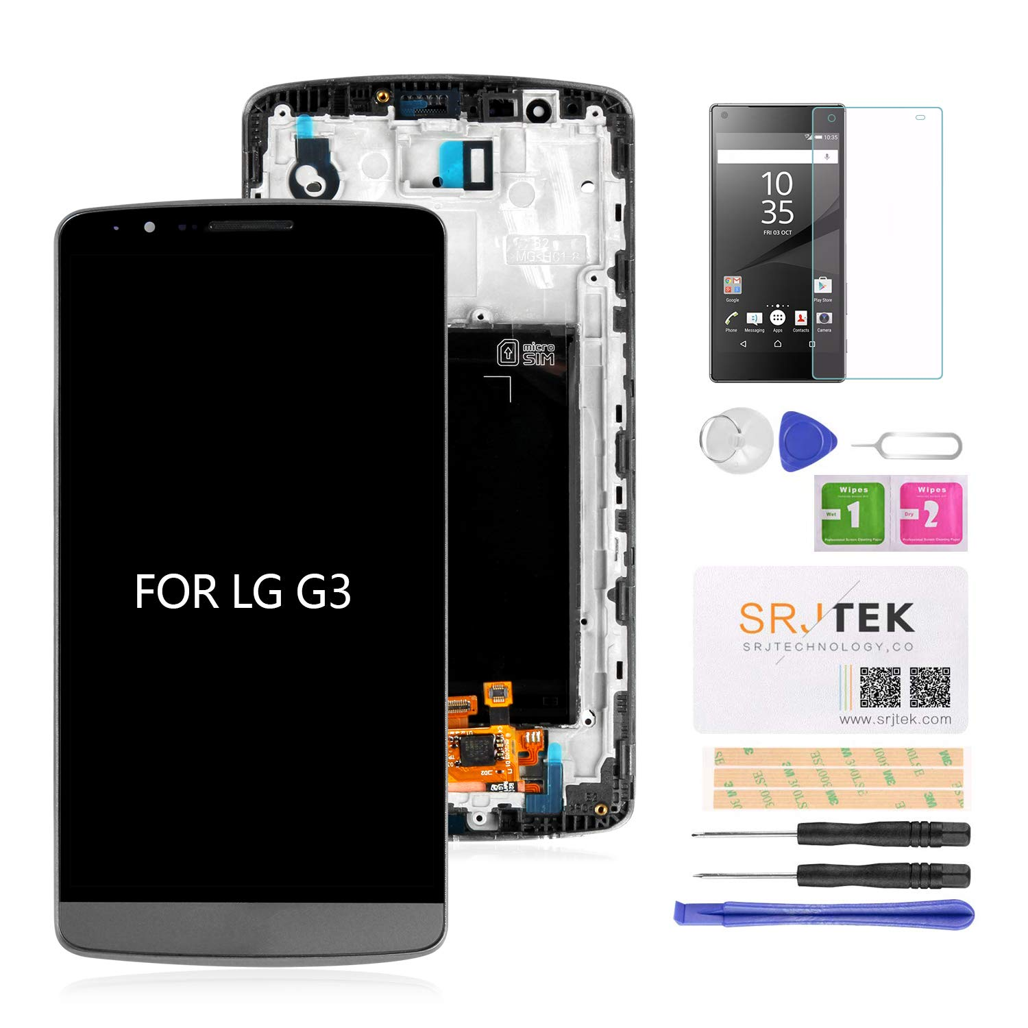 SRJTEK Screen Replacement for LG G3 LCD D850 D851 D855 VS985 LS990 Display  Touch Digitizer Glass Sensor Frame Assembly,Repair Parts Kits,Tools