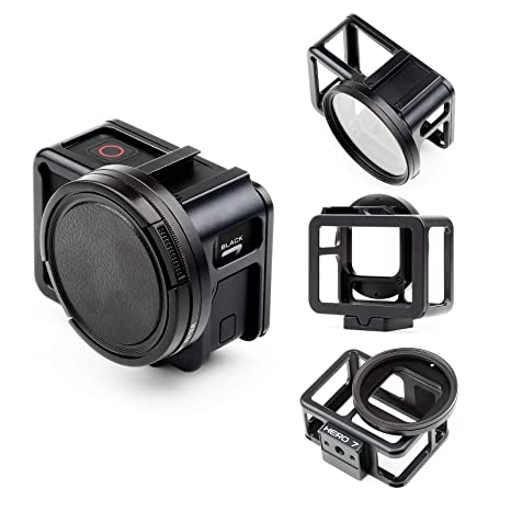 SHOOT Aluminum Solid GPS Vlogging Cooling Case Frame for HERO7 Black/Hero(2018) Built-in 52mm UV Protection Lens Filter,Lens Cap,Mic Cold Shoe ...