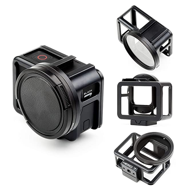 SHOOT Aluminum Solid GPS Vlogging Cooling Case Frame for HERO7 Black/Hero(2018) Built-in 52mm UV Protection Lens Filter,Lens Cap,Mic Cold Shoe ...