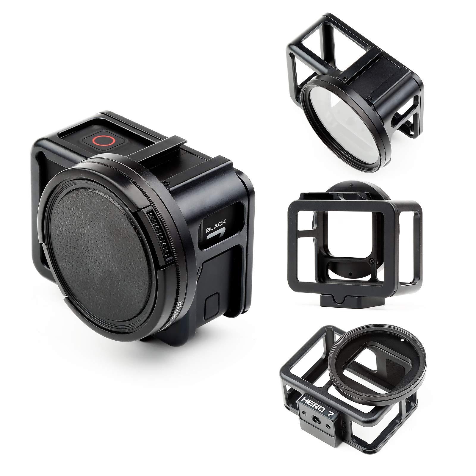 SHOOT Aluminum Solid GPS Vlogging Cooling Case Frame for HERO7 Black/Hero(2018) Built-in 52mm UV Protection Lens Filter,Lens Cap,Mic Cold Shoe Adapter,Receive GPS,WiFi Signal