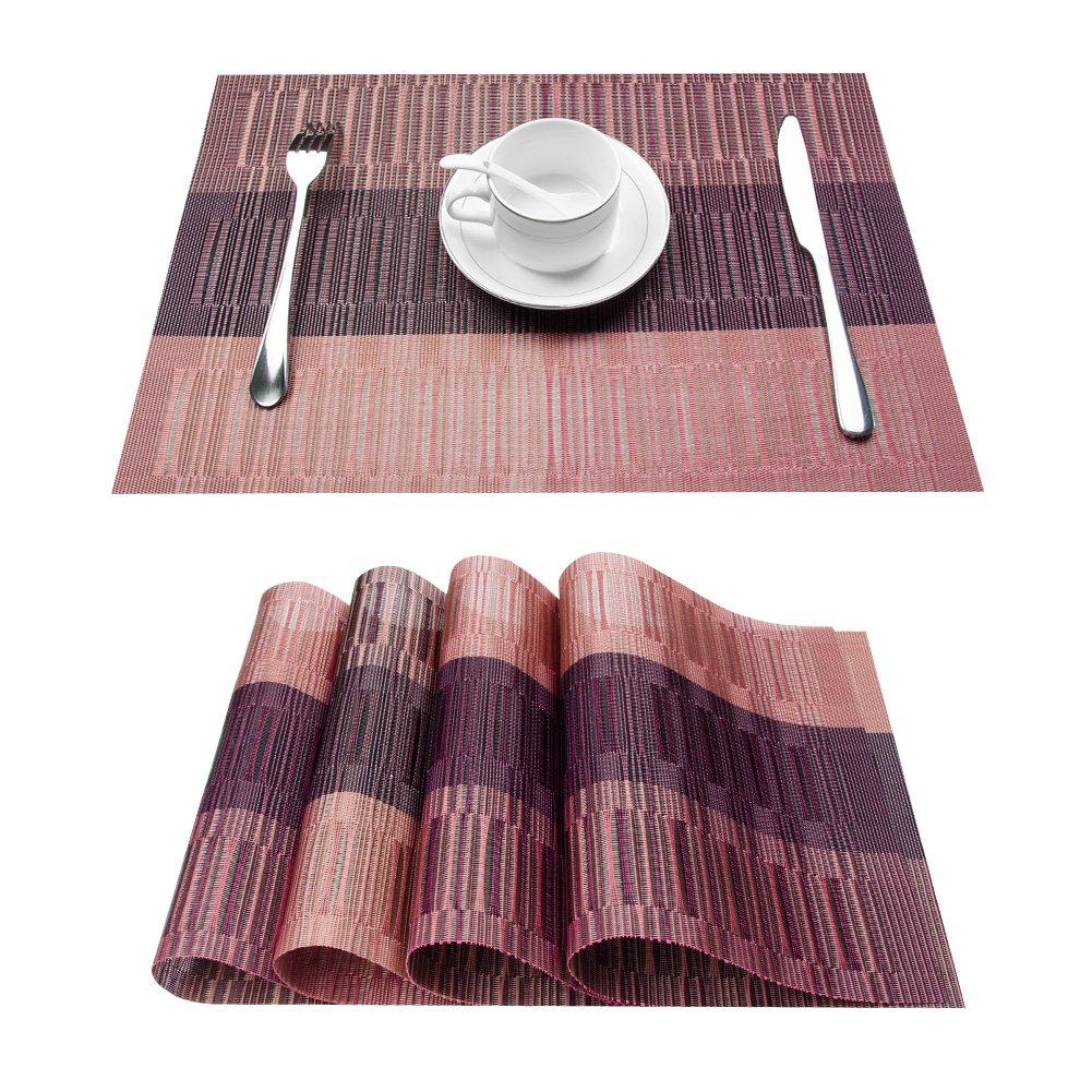 Top Fine環境に優しいカラフルな長方形竹プラスチックPlaceマット、ダイニングテーブル12