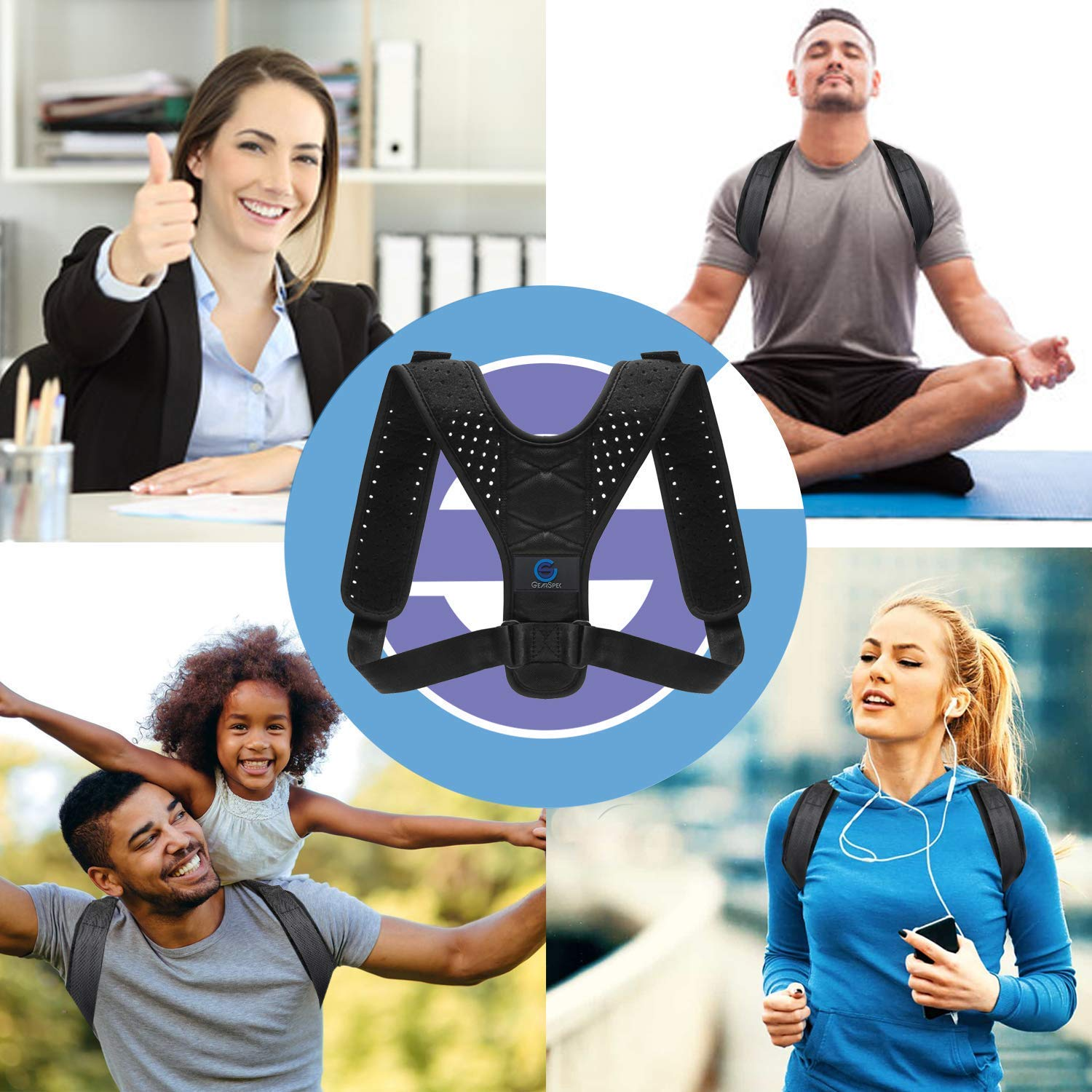 Posture Corrector Back Brace Support for Women and Men,Relieves Back & Shoulders Pain,Corrects Slouching,Hunching Adjustable Posture Corrector Back Shoulders Clavicle Support with Laundry Bag