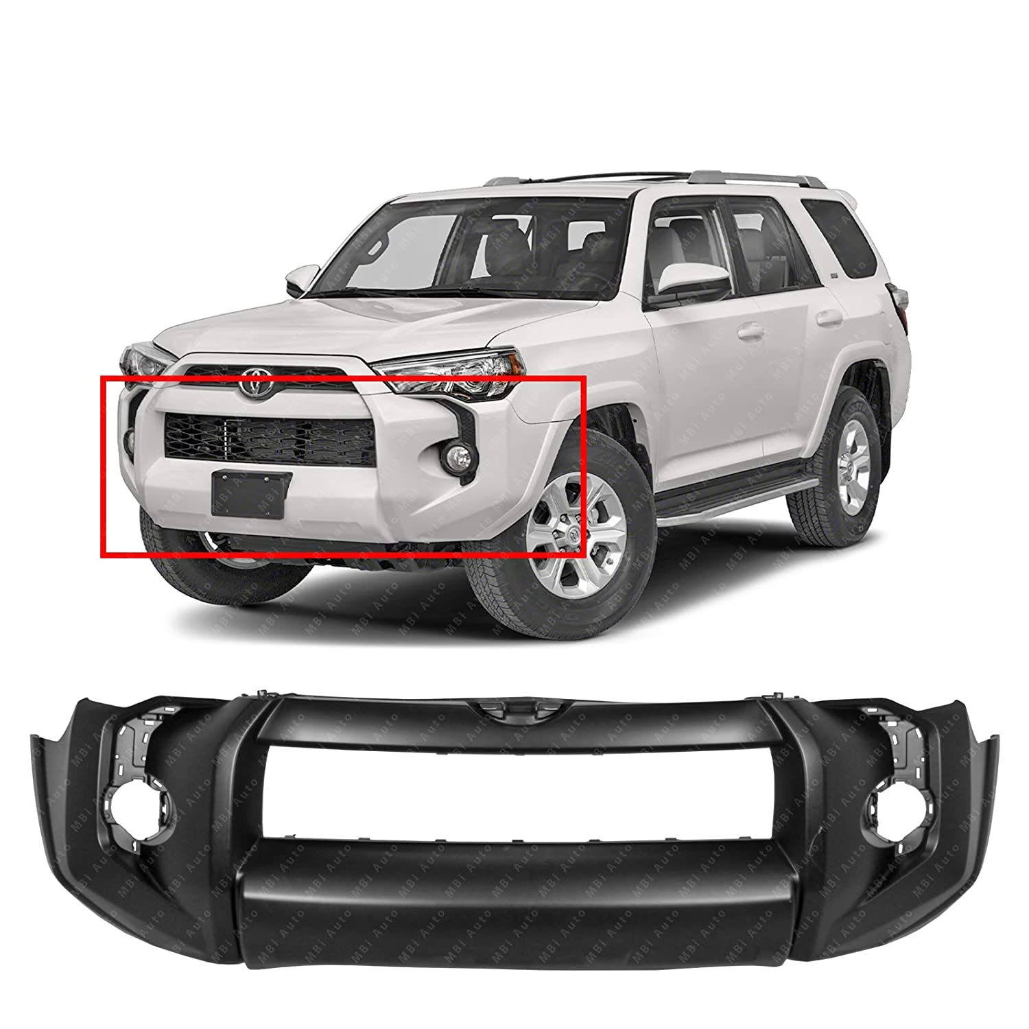 Front Bumper Cover Fascia for 2014-2019 Toyota 4Runner SR5 // Base 14-19 Primered MBI AUTO TO1000405