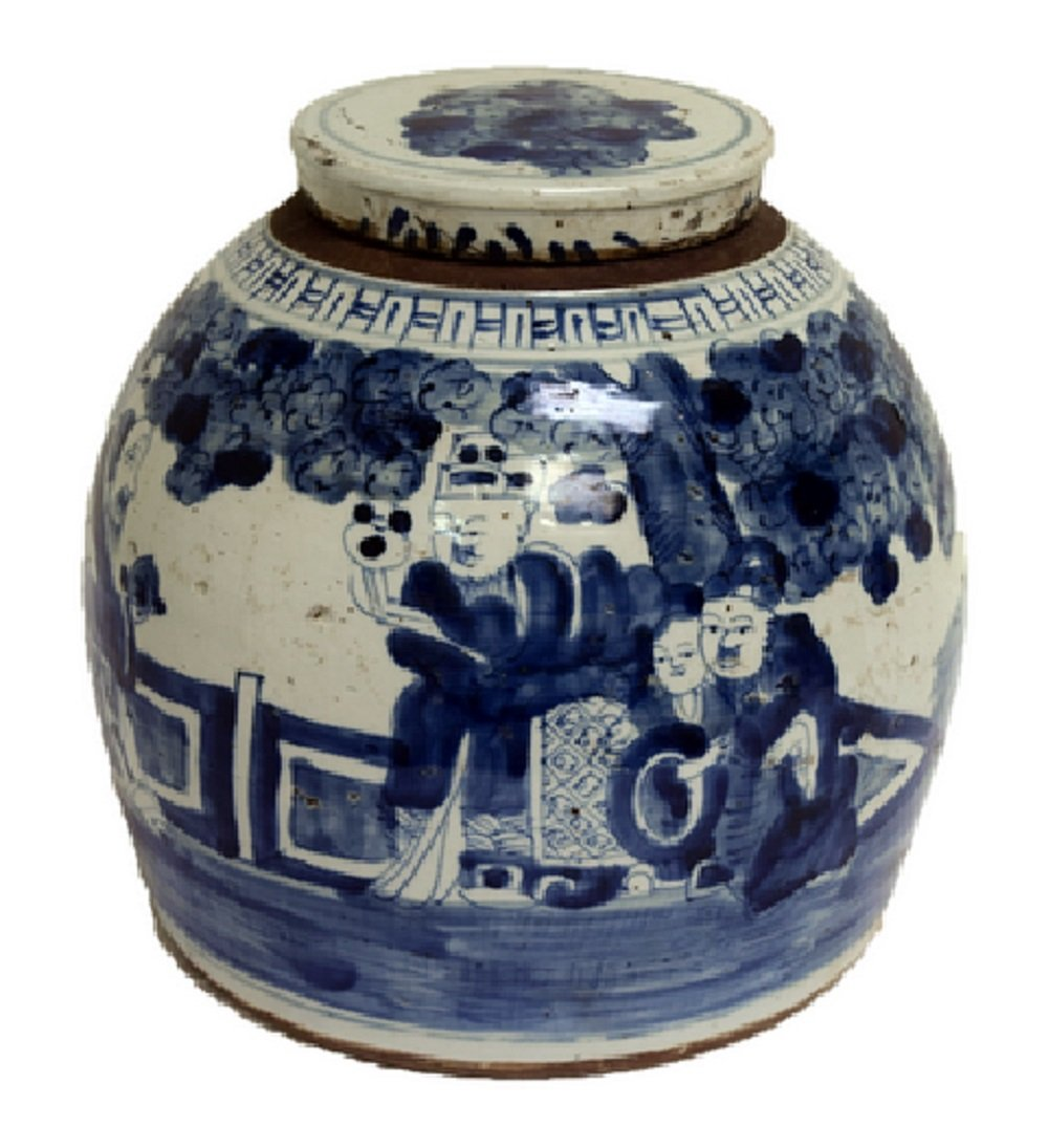 Vintage Style Blue and White Porcelain People Motif Ginger Jar 11'' by Asian Style Furnishing