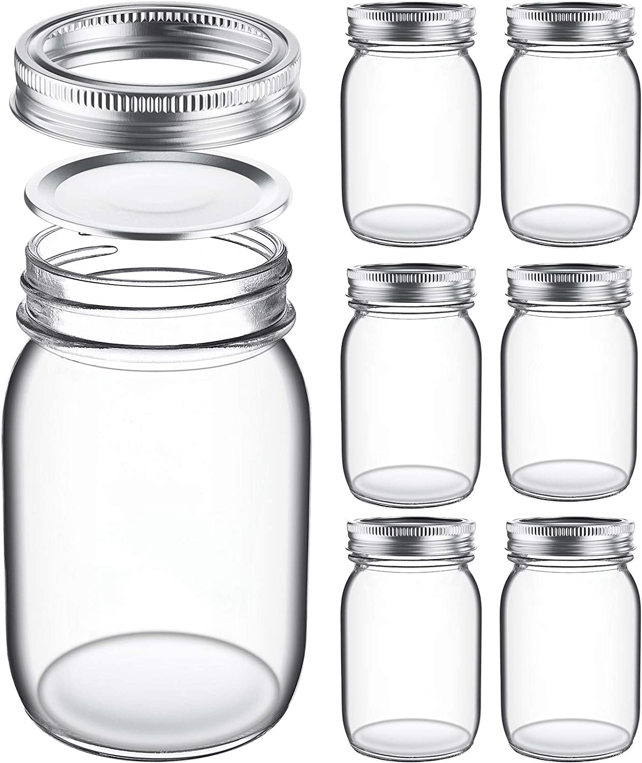 Glass Regular Mouth Mason Jars, 16 Oz Glass Jars with Metal Airtight Lids & Bands for Canning, Food Storage, Prep, Jams, Jellies, Pickles, Preserves, Overnight Oats, Spices, Salad, Drinking (6 Pack)