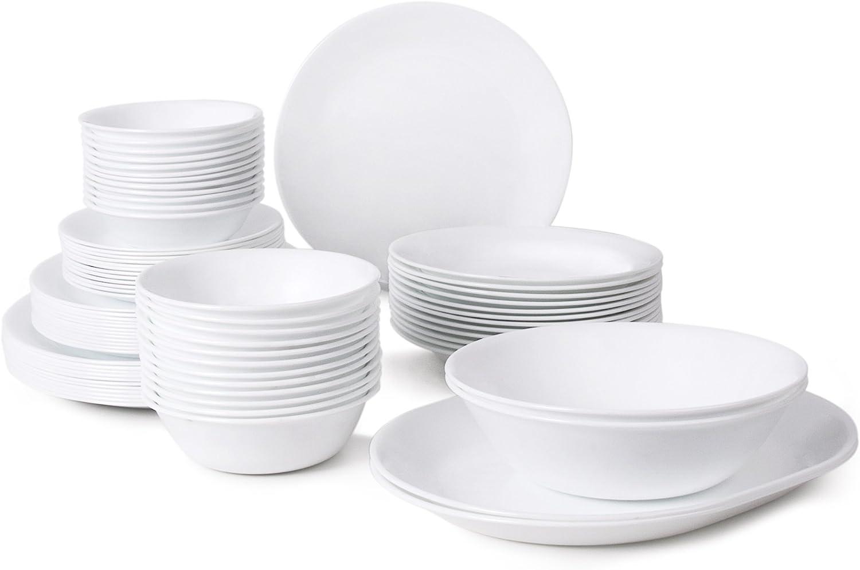 Corelle Livingware 76-Piece Dinnerware Set, Service for 12, Winter Frost White