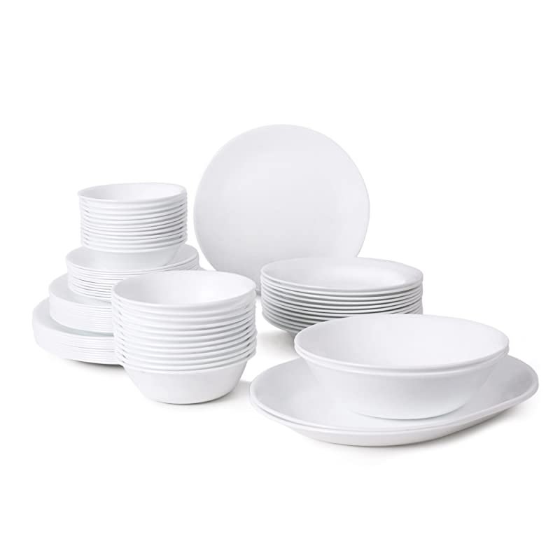 Corelle Livingware 76-Piece Dinnerware Set Service for 12 Winter Frost White  sc 1 st  The Kitchen Advisor : plain white dinnerware - pezcame.com