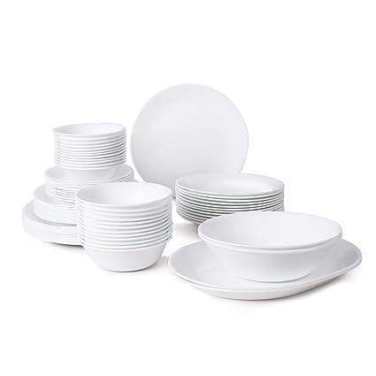 Corelle Livingware 76-Piece Dinnerware Set Service for 12 Winter Frost White  sc 1 st  Amazon.com & Amazon.com: Corelle Livingware 76-Piece Dinnerware Set Service for ...