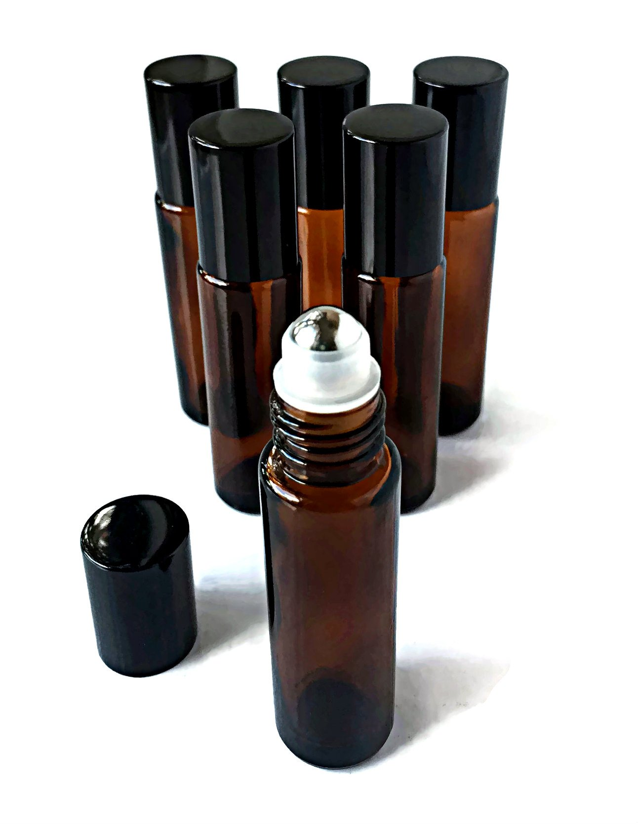 Roller Bottles for Essential Oils by Oils For Everything, Glass 10ml Amber Bottle with Steel Roller Ball and Black Cap - 6 pack